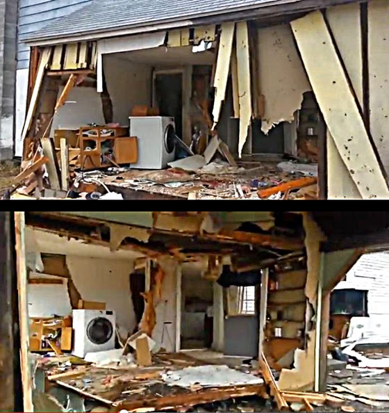 "SWAT was ""needed"" to execute a warrant on a DUI arrest. The home was systematically destroyed from end-to-end. It appears the family was subjected to ""collective punishment"" for the DUI suspect's recalcitrance. (Screen capture from YouTube video)"