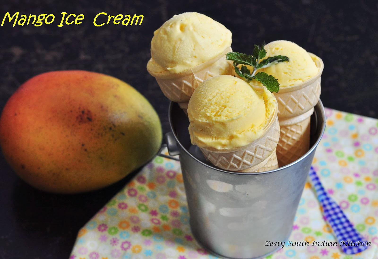 Mango Ice Cream With Touch of Cardamom - Zesty South Indian Kitchen