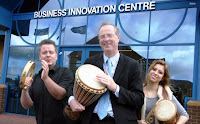 Here's engineering PR agency Stone Junction outside our new office with local  MP Jeremy Lefroy, playing the drums. Why?  You will have to ring and ask - 01785 225416.