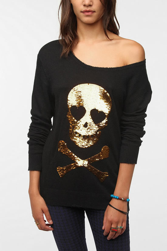 Wildfox Couture Sequined Skull Sweater