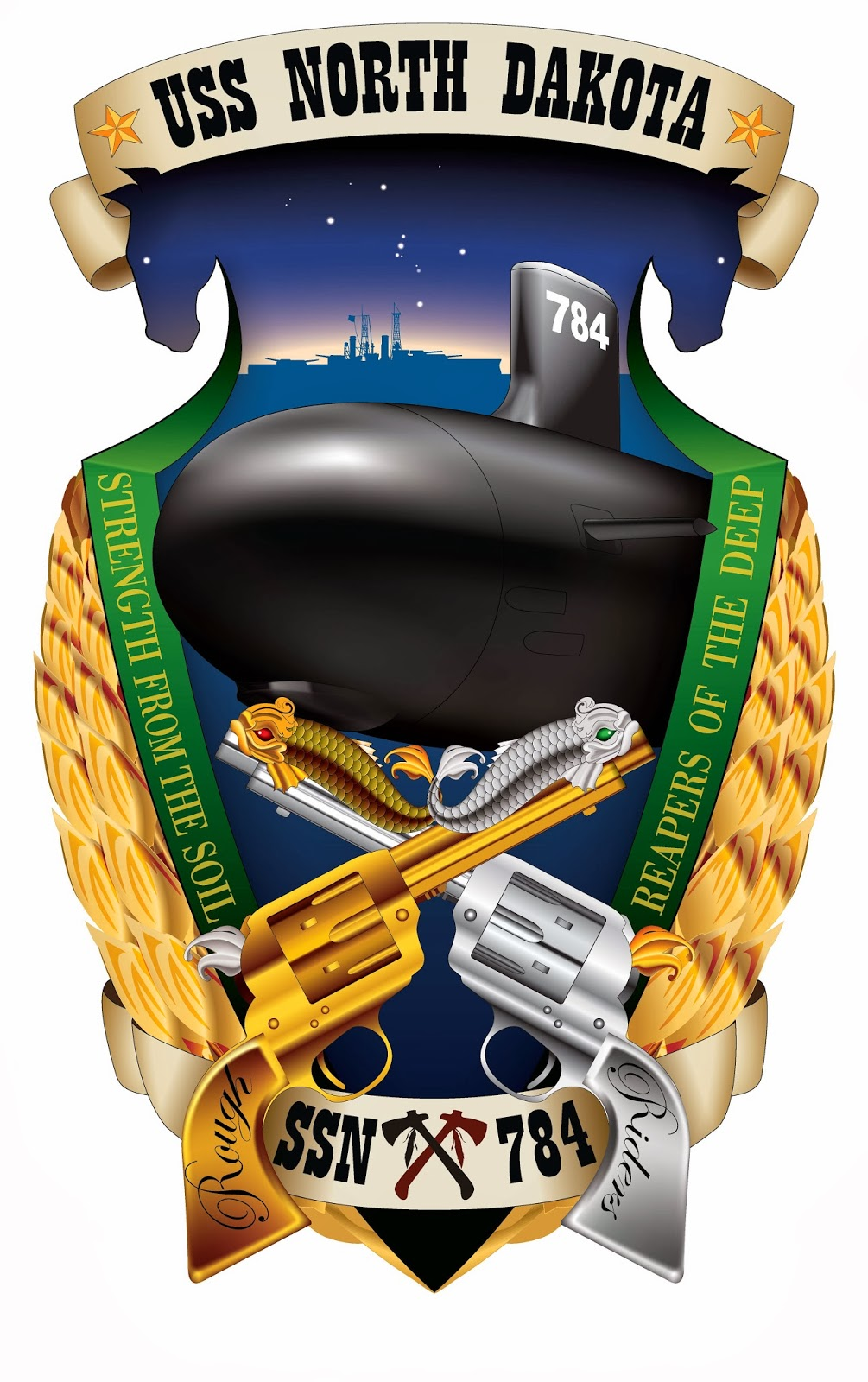 Navy submarine North Dakota's crest shows wheat sheafs, Wild West six-shooters and other symbols of the state.