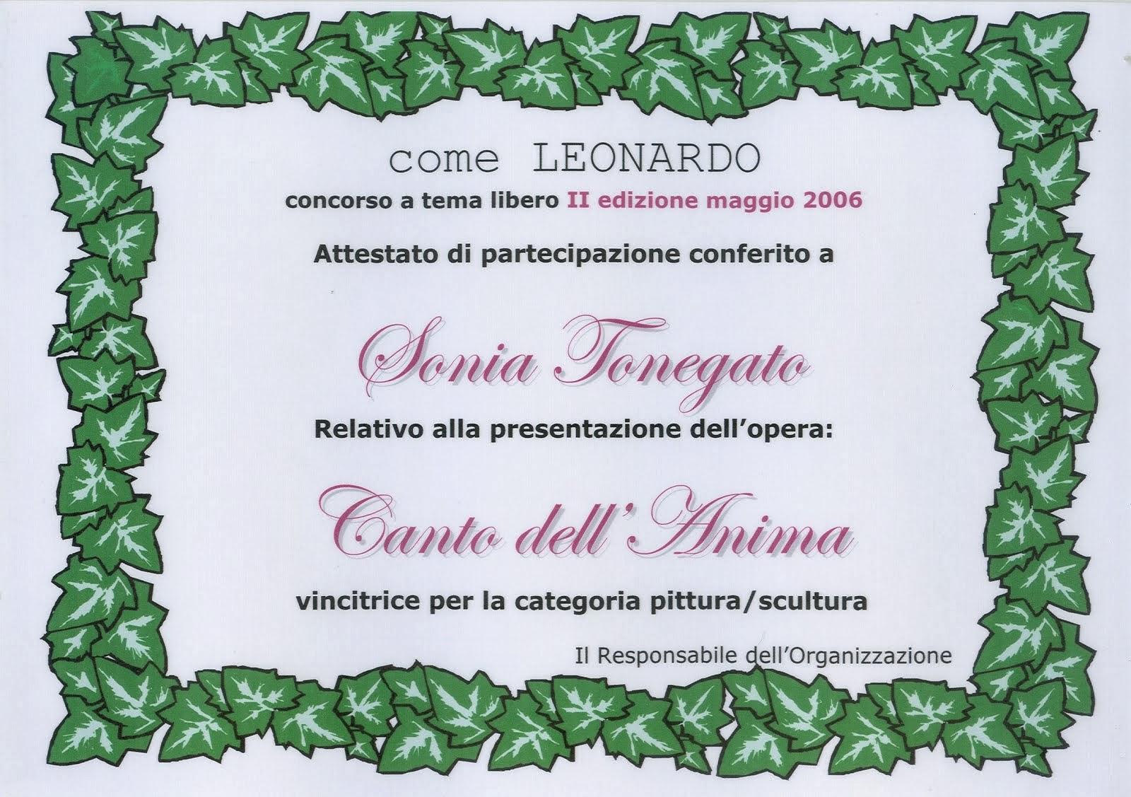 """Anno 2006  -  1°Premio """"Come Leonardo"""""""