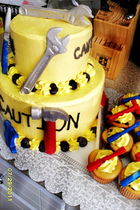 Brandis Sweets Construction Themed Birthday Cake with Edible Tools
