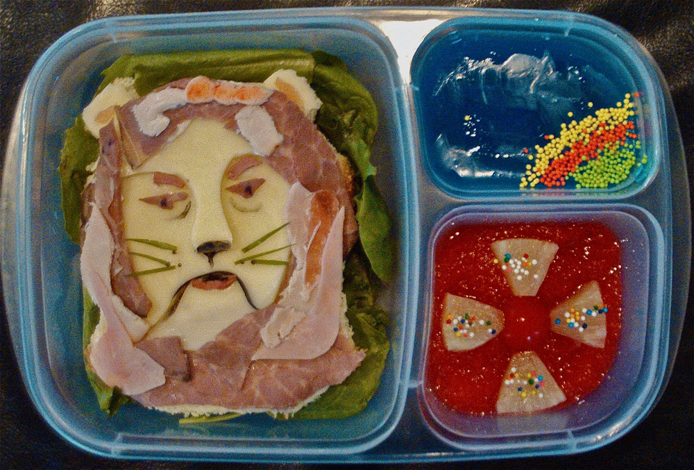 Wizard of Oz Cowardly Lion bento in EasyLunchboxes