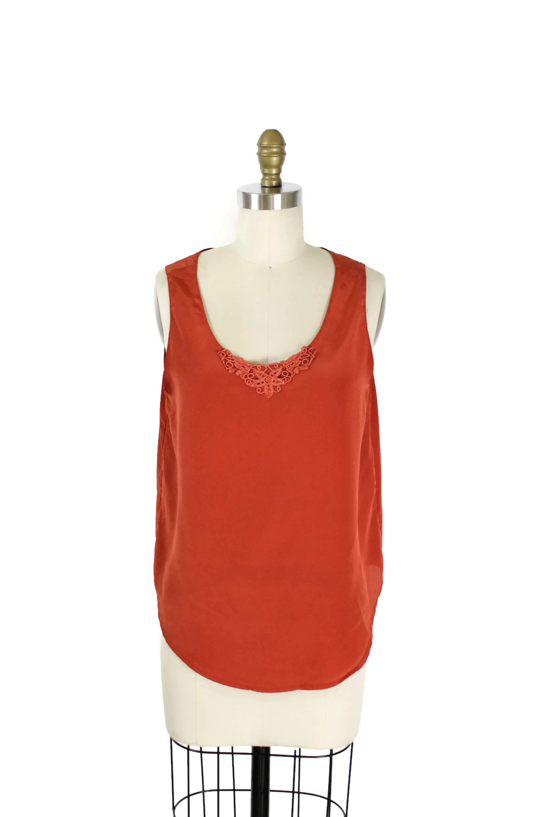 1980s burnt orange sleeveless blouse