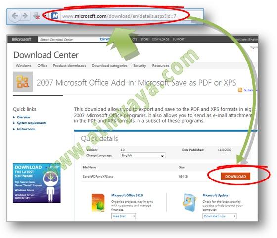 Gambar: Cara Download Add-in Microsoft untuk pembuatan File PDF atau XPS