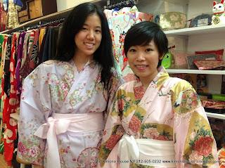 Two Girls Wearing Yukata Kimono from Kimono House NY