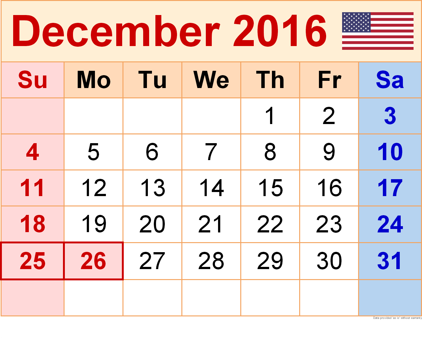 2016 Cute Calendar With Holidays Usa | Calendar Template 2016