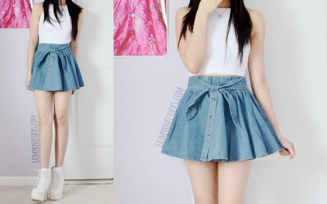 Full photos of this ulzzang-esque summer outfit, with a denim Tokyo Fashion skater skirt, a white crop top, and white spiked platform booties.
