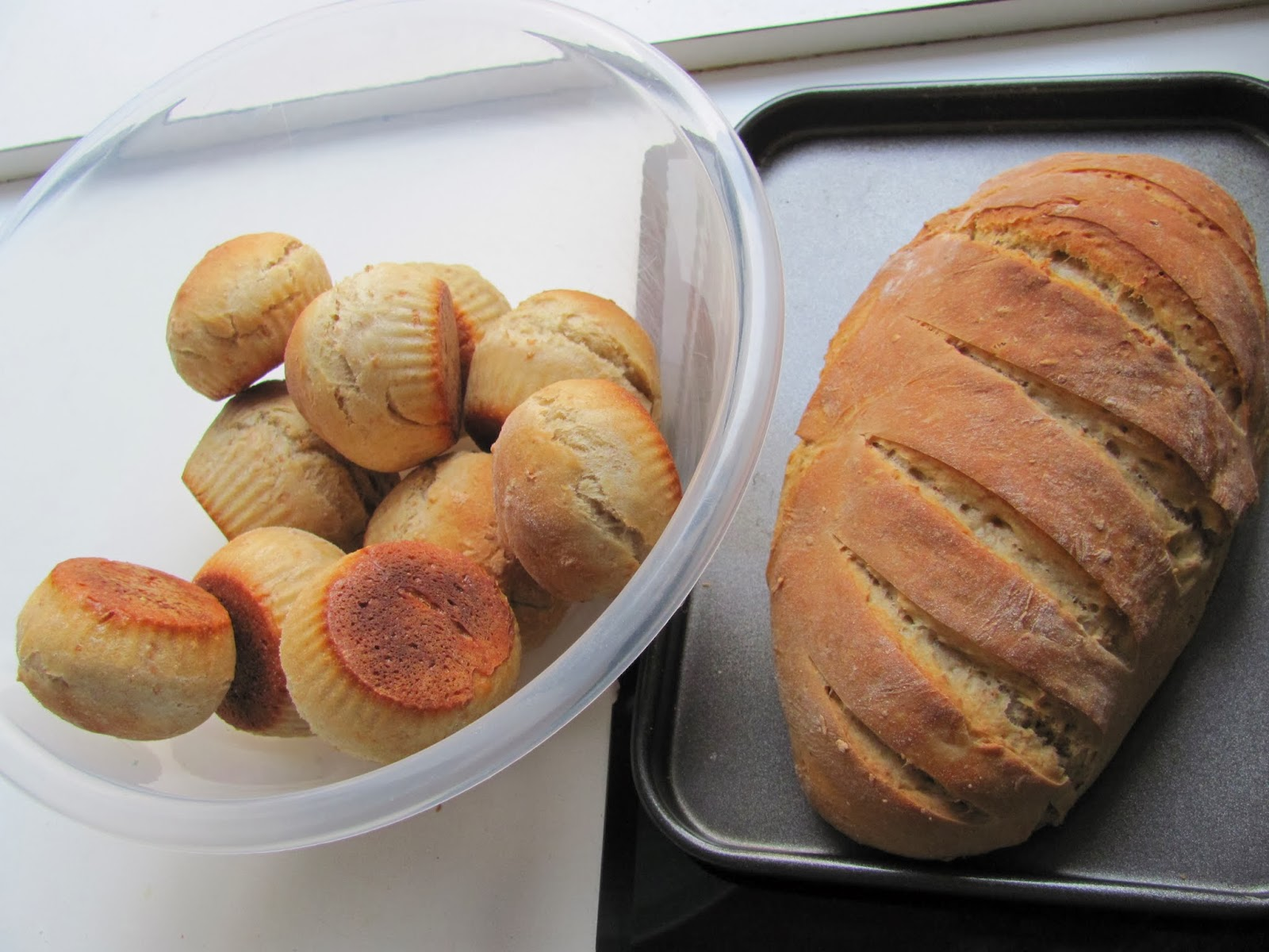 A loaf of bread and 12 rolls are ready in Dublin Ireland Thanksgiving 2013