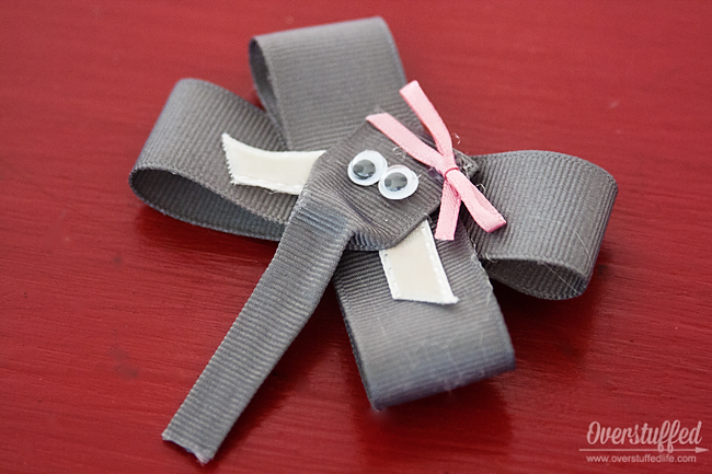 Activity idea for a book club to discuss The One and Only Ivan: Making Stella the elephant bows