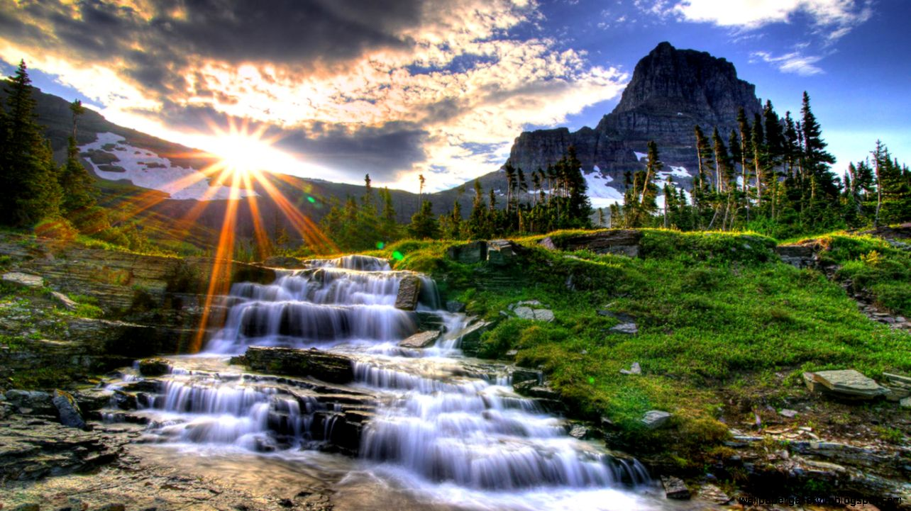 beautiful small waterfall nature scenery wallpaper | wallpaper gallery
