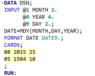 ans we can use mdy function to create a sas date value by using separate variables like day month and year