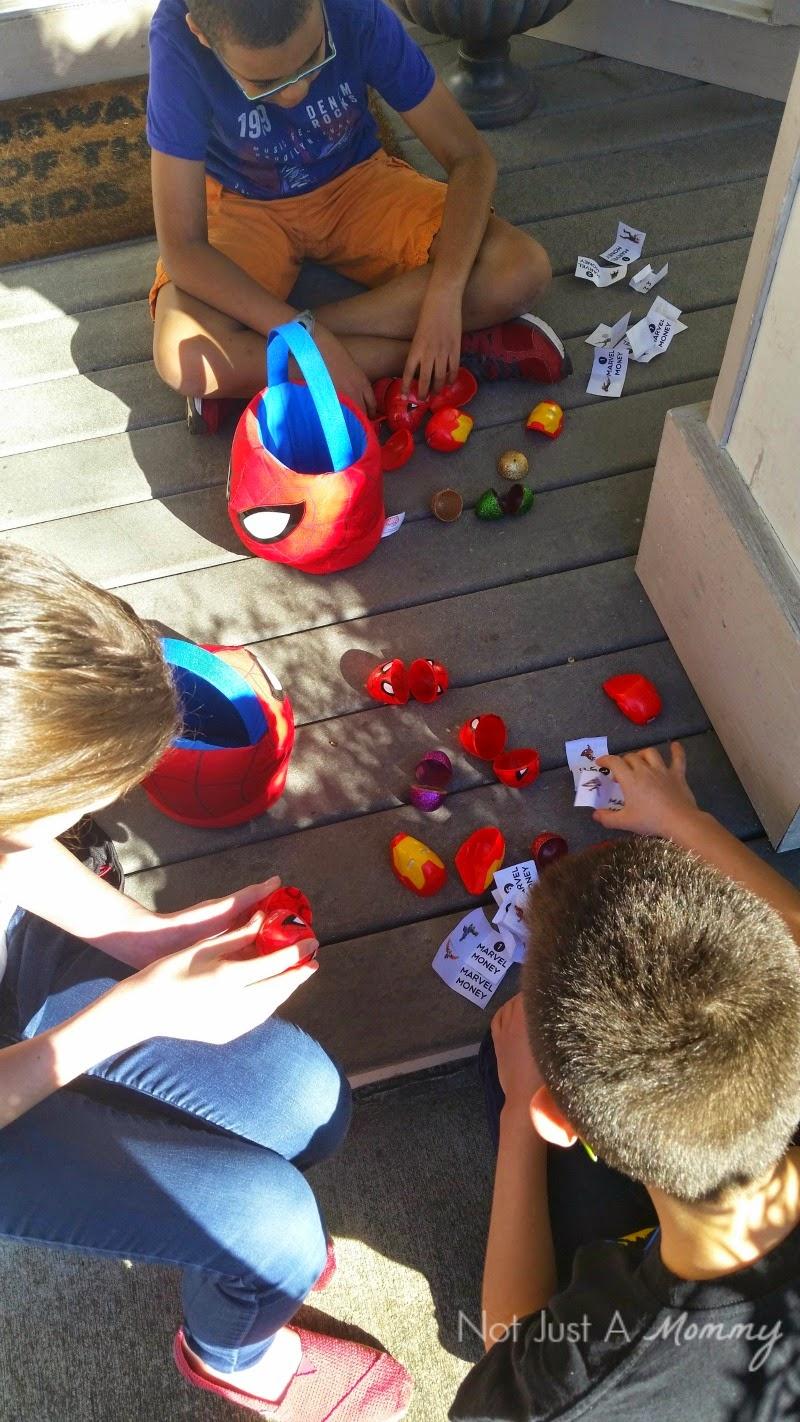 Disney Marvel Easter Egg Hunt sorting Marvel Money