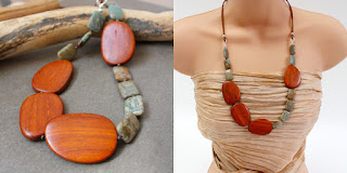 chunky necklace wood jasper leather