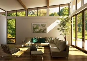 living room with efficient lighting design