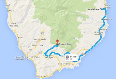 Itinéraire depuis votre gite Lamatéliane, location de vacances en Guadeloupe