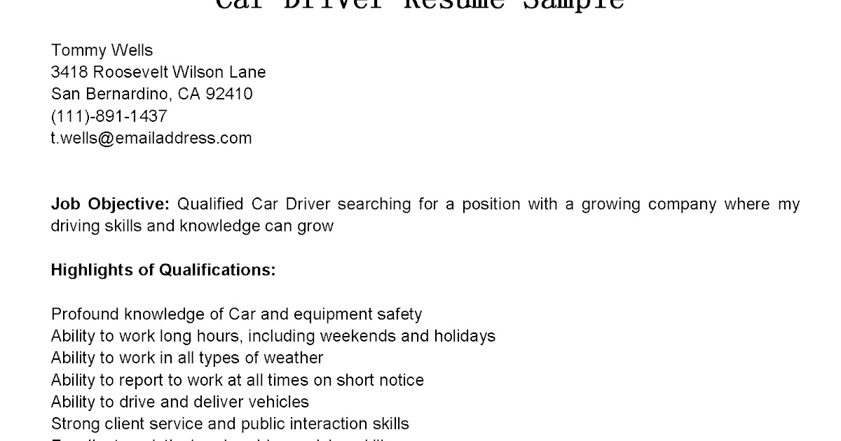 Car driver resume sample
