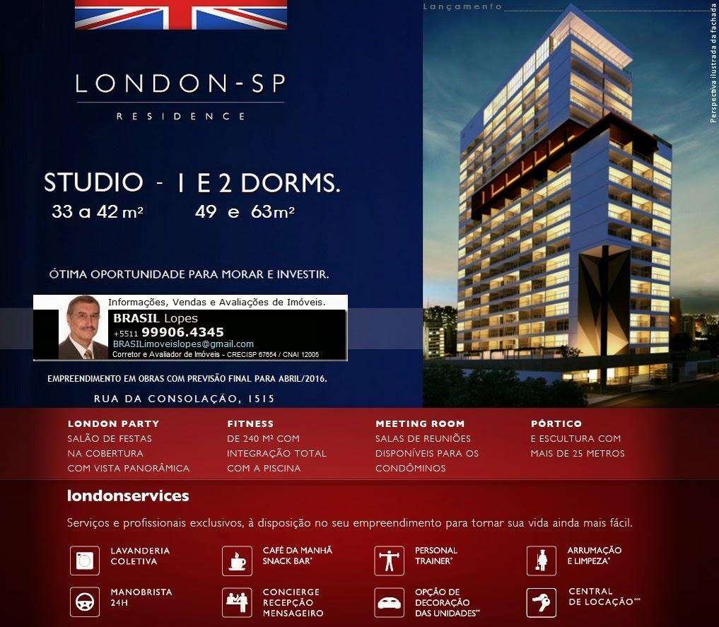 LONDON - SP RESIDENCE  /  Studio, 1 e 2 dorms. na Rua da Consolação, São Paulo-SP-Brasil