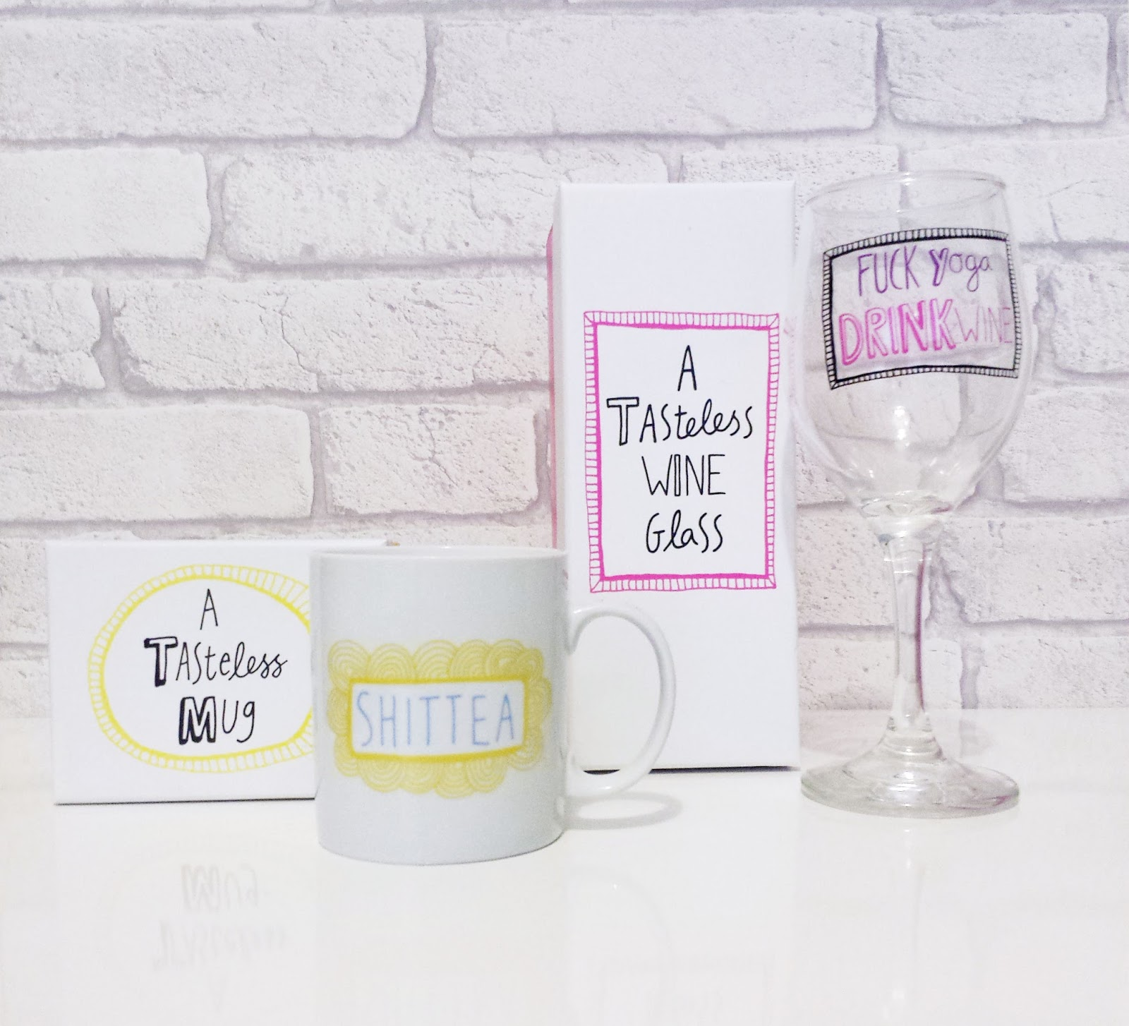 Tasteless Mug & Tasteless Wine Glass