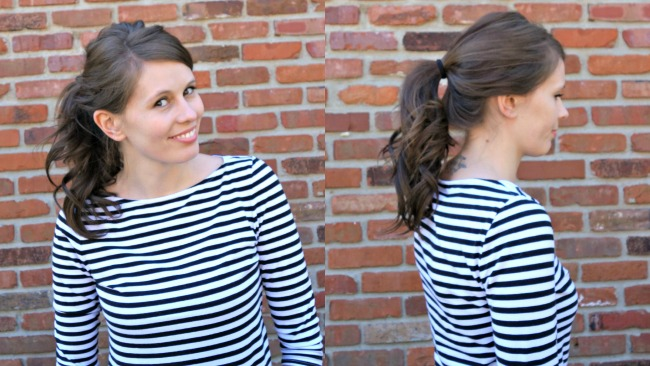 Using only 4 of 10 clips from my Irresistible Me Hair Extensions gives me a much thicker ponytail