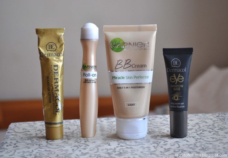 Dermacol makeup cover, Garnier Roll-on, Garnier BB, Dermacol Eye base