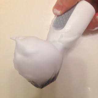 example of shaving soap lathered on a brush