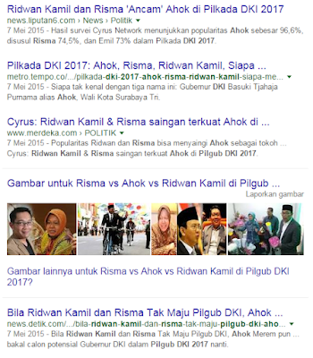 Calon Gubernur DKI Jakarta 2017: Risma vs Ahok vs Ridwan Kamil