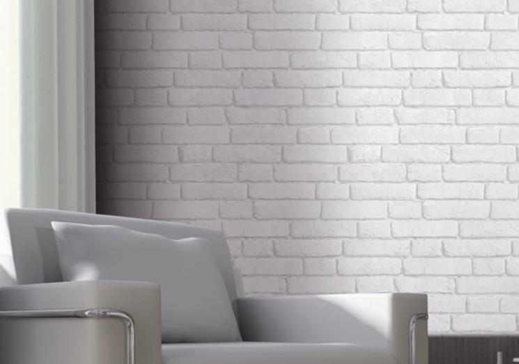 Hvit murstein tapet - Sminkebord med speil og lys