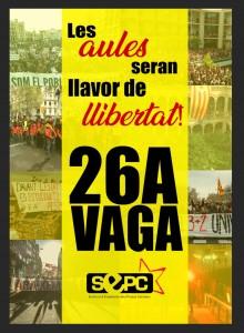 Els sindicats d'estudiants convoquen vaga per al 26 d'abril