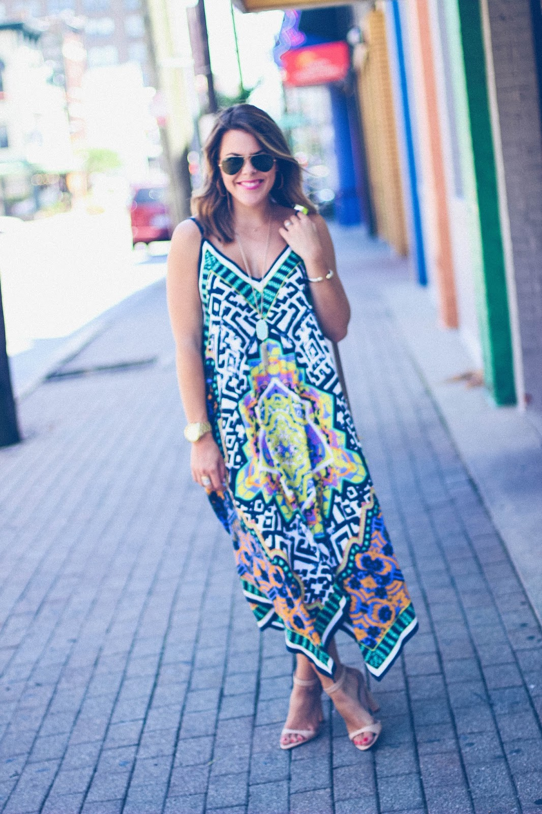 Shelby Skaggs of Glitter & Gingham, summer dress, nude ankle strap sandals
