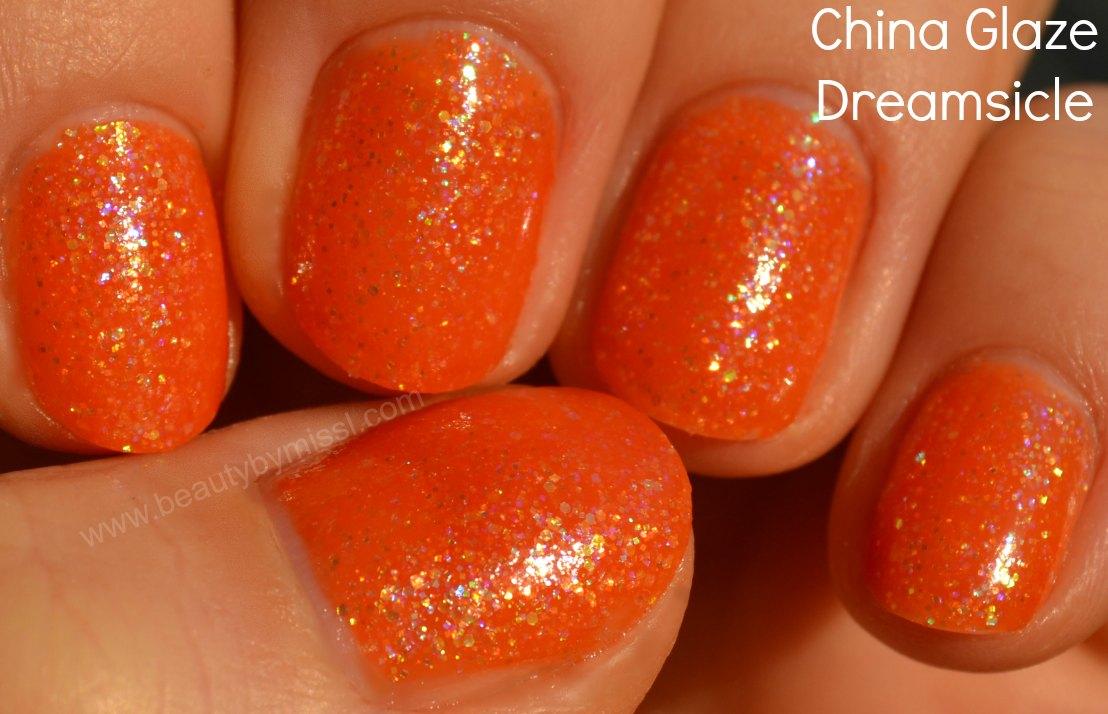 swatches, orange nail polish