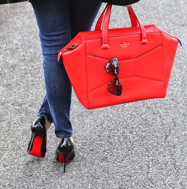 kate spade beau bag, saint laurent sunglasses, christian louboutin heels