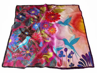 Születésnapi ajándék nőknek - kolibri slelyem kendő kézzel festve.