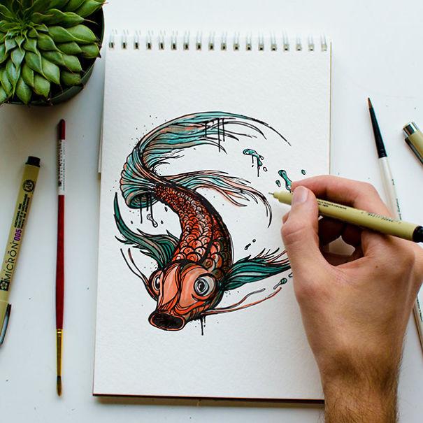 kyson dana alphabet animal illustrations-4
