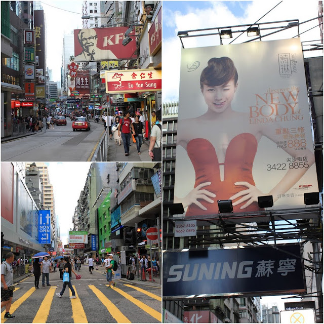 More street advertising and signages can be seen everywhere on the streets of Hong Kong
