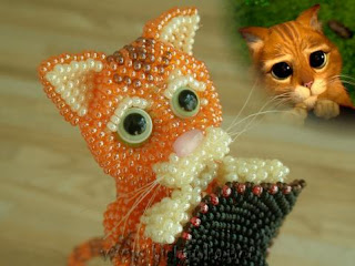 Игрушка из бисера кот в сапогах