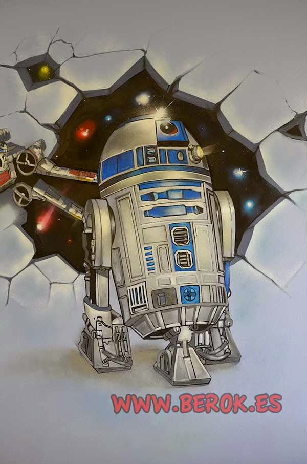 Graffiti mural robot R2D2
