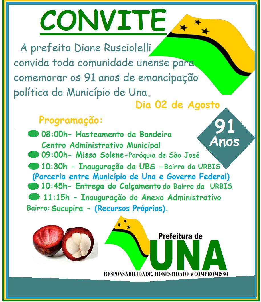 91 ANOS DE EMANCIPAÇÃO DE UNA!