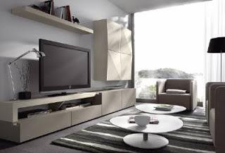 Mueble de salon compacto combinado con acabado plata el for Mueble salon colgado