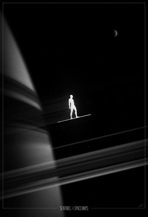 marko manev ilustração poster super heróis noir minimalista preto e branco surfista prateado sentinela do espaço