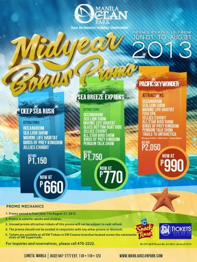 Manila Ocean Park Midyear Bonus Promo June 1 to Aug 31 2013