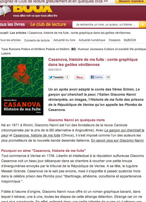casanova, histoire de ma fuite - giacomo nanni - critique