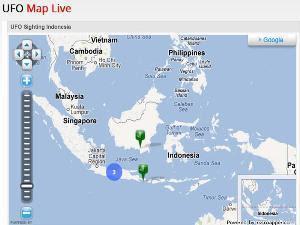 Peta Penampakan UFO di Indonesia