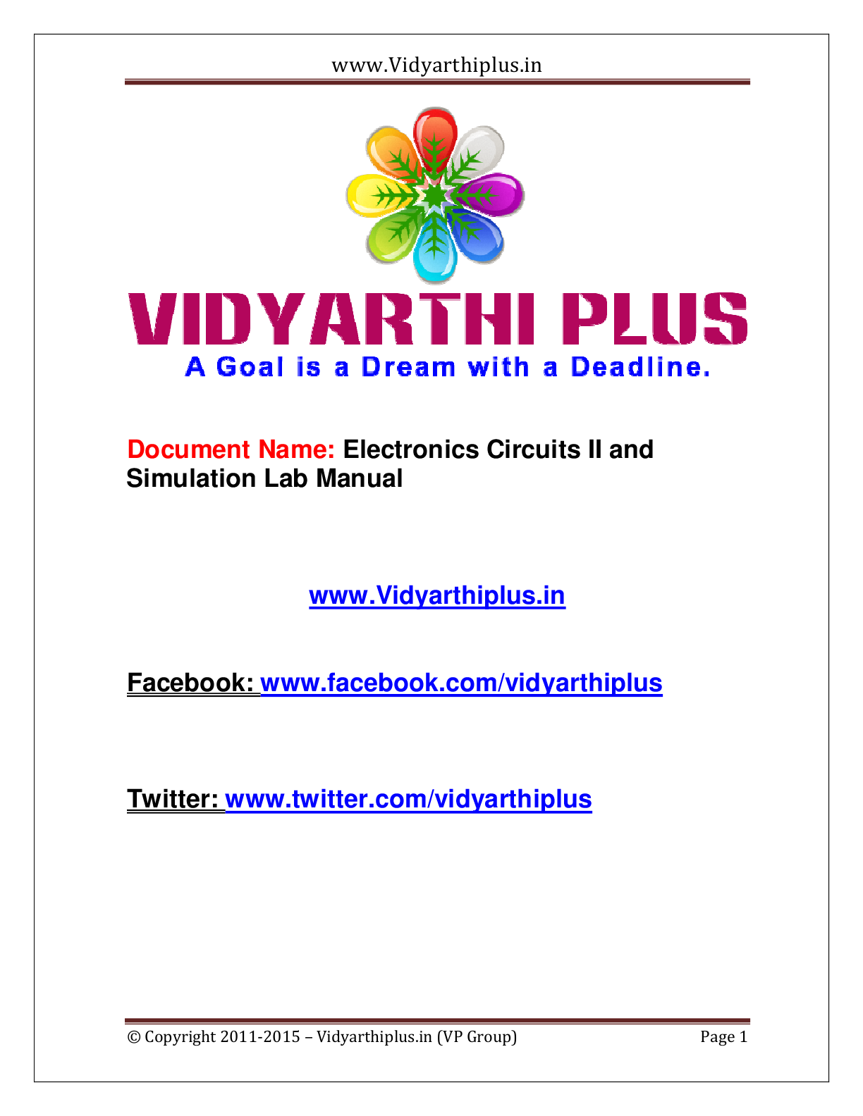 Electronic Circuits Ii And Simulation Lab Manual Vidyarthiplus V Circuit Simulator Download Link Click Here To