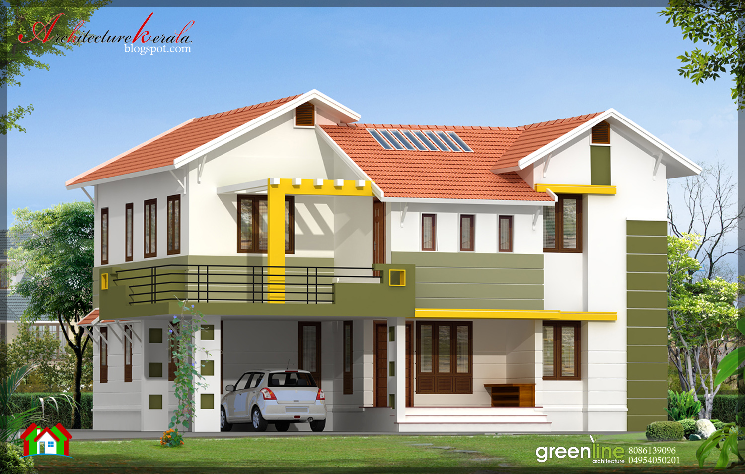 4 bhk contemporary style indian home elevation design in for Elevation of kerala homes