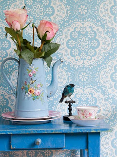 Blue teal victorian floral wall paper shabby chic living room