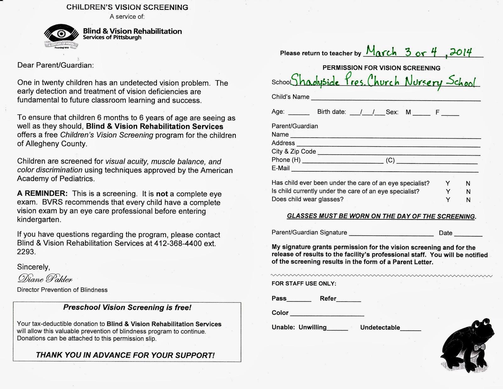 Shadyside Presbyterian Church Nursery School: Free Vision Screenings