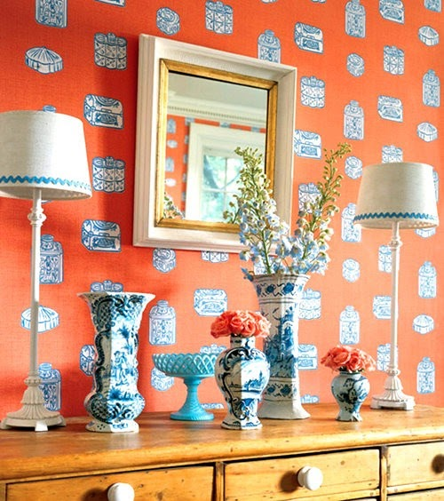 Thibaut Fabrics And Wallpapers: My Cup Of Te: Ginger Jar Wallpaper