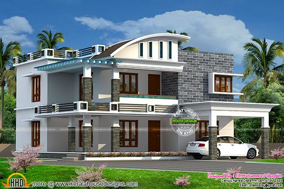 Curved roof mix house in 2322 sq-ft